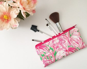 Lilly Pulitzer Pink Colony Pencil Zipper Pouch- Zipper Pouch- Make up Bag- Zipper Pouch- Pencil Case- Floral pencil case