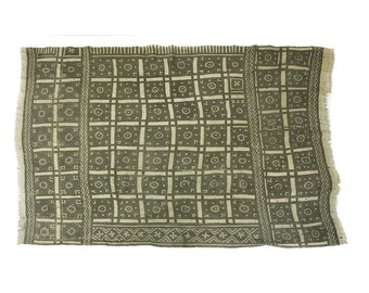 Antique handmade Bogolan strip-woven mud cloth from Mali, West Africa B207