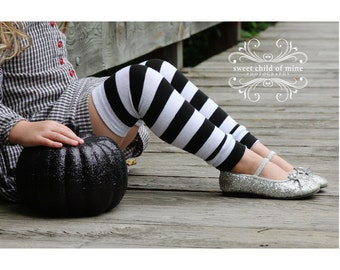 Black and White Striped Halloween Leg Warmers