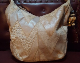 Boho Shoulder Bag Made In Italy Patches Of Leather/Fabric /Lace 11x14 Zipper Closure