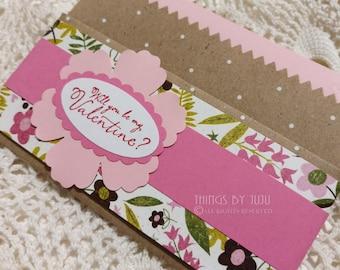 Valentine Gift Card Holder Pink Tea Bag Holder Will You Be My Valentine Pocket Gift Card Paper Gift Card Holder Envelope  Valentine for Her