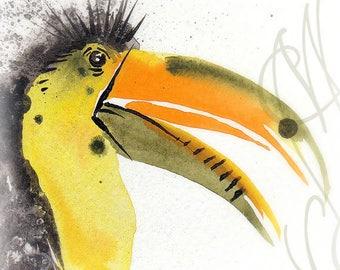 "Martinefa's Original watercolor and Ink Bird ""Toucan Toco"""