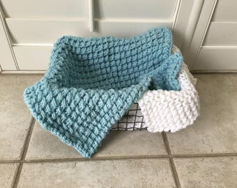 Baby Blue Hand Knit Bamboo Stitch Photography Prop Blanket