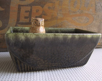 Vintage Art Deco Style Green Ceramic Planter