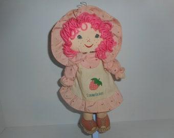 """Vintage Dan Brechner Strawberry Shortcake Plush Rag Doll 14"""""""