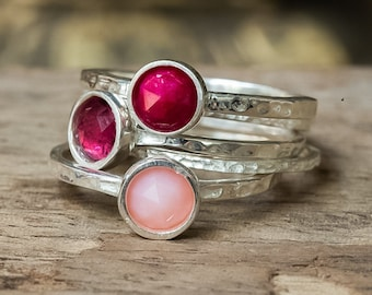 Ruby Ring, Opal Ring, Tourmaline Ring, Silver Rings, Stacking Rings, Birthstone Rings, Hammered Rings, Dainty Ring, Set of Five Rings, Rings