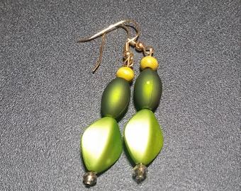 Metallic Green Dangle Earrings