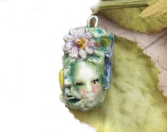 pendant bead -Focal Bead - necklace bead -  OOAK bead - people bead -Ceramic Pendant -     # 184