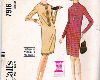 Vintage 1965 McCall's 7916 Slim Three Panel Dress Sewing Pattern Size 10 Bust 31""