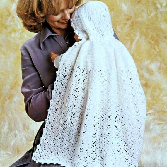 Vintage Crochet Pattern PDF Baby Carrying Cape with Hood Cloak Wrap ...