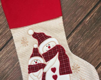 Monogrammed Christmas stocking, snowman stocking, personalized Christmas stocking, stocking set, matching stockings