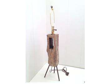 Vintage handmade Industrial driftwood table lamp