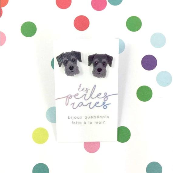 schnauzer, gray, black dog earring,dog,  hypoallergenic, plastic, stainless stud, handmade, les perles rares
