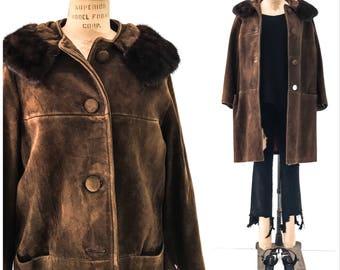 50s VINTAGE Clothing SWING COAT Swing Coats Women Vintage Coat Vintage Coats Women Mink Fur Coat Mink Fur Collar Mink Fur Jacket Suede Coat