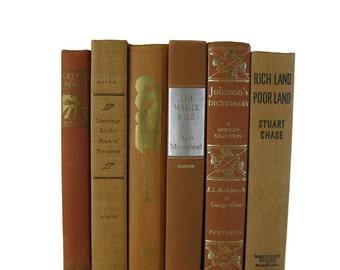 Tan Tangerine  Decorative Books, Vintage Wedding Decor , Vintage Book Decor , Home Decor , Photo Prop , Bookshelf Decor