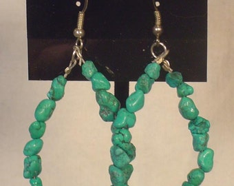 Gorgeous Turquoise Nugget Hook Earrigs - E168