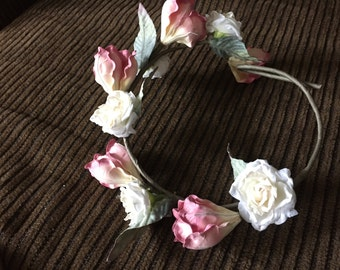 Floral Crown with silk pink and white florals