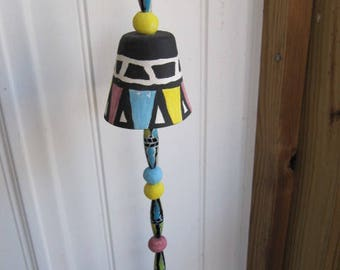 Whimsical pottery clay garden porch bell chime