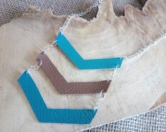 Beautiful teal and tan chevron style leather necklace - 20 inch - boho / hippy / festival / fashion / summer