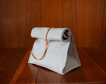 Canvas Lunch Bag / Gray / Leather Enclosure Strap / Foldover Bag / Reusable Bag
