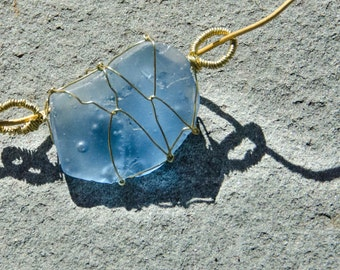 Sky blue glass, wire wrapped pendant