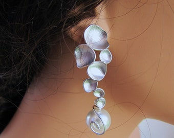 Silver floating pedals with south sea shell pearl bridal chandelier earrings sterling silver ear posts
