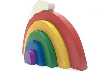 wooden stacking toy the bold collection: mini rainbow stacker with cloud