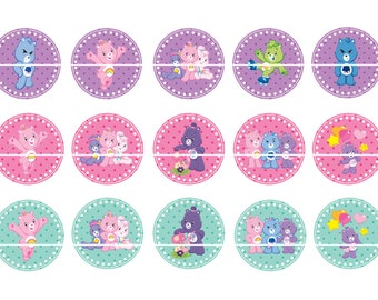 "CARE BEARS 1 Inch Bottle Cap Image-  4"" X 6"" Digital Image- Instant Download"