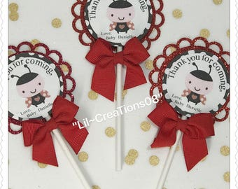 12 Lady Bug Cupcake Toppers