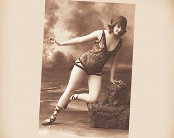 Edwardian Bathing Beauty New 4x6 Vintage Postcard Image Photo Print BB30