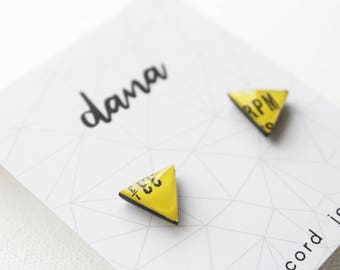 yellow stud earrings triangle studs resin post earrings eco-friendly jewelry funky colorful studs music jewelry music gift idea for women