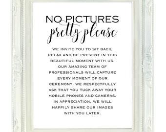 No Pictures Pretty Please Printable Wedding Sign, 8x10 Digital Wedding Sign, Unplugged Wedding, No Photos Wedding Ceremony, Wedding Signage