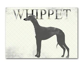 Whippet Dog Print - Fine art print, Whippet art, dog silhouette, gray dog