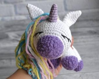 Little unicorn toy doll, Crochet sleeping unicorn, white baby nursery toy, new baby shower gift, handmade amigurumi unicorn decor, baby toy