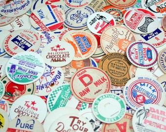 SALE 10 Vintage Milk Caps - Vintage Paper Ephemera, Mixed Media, Altered Art, Assemblage, Travel Journal, Collage, Craft Supplies