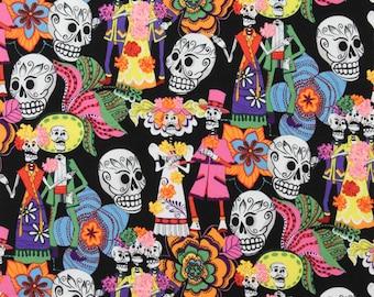 Los Novios - Black - Skull And Crossbones - Dia de Los Muertos - Alexander Henry - Day of the Dead - Cotton Fabric - 6845B - Remnants