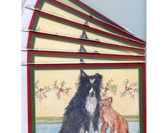 6 x Border Collie dog Christmas greeting cards the holidays cat and dog ginger cat tabby cat friends pals from Susan Alison watercolor pic