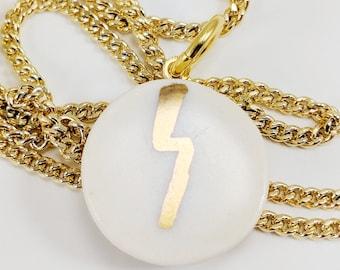 LIGHTNING PORCELAIN & GOLD Pendant /// ceramic jewelry, clay pendant, clay bead, clay necklace, porcelain jewelry, porcelain pendant