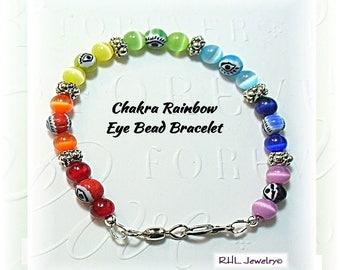 Rainbow Bracelet, Eye Bead Bracelet, 7 Chakra Colors, Evil Eye Rainbow Jewelry - B2017-04