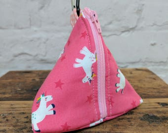 Handmade Unicorn Pouch Bag / Purse / Dog Poop Bag or treat carrier with metal Carabiner clip to attach to a book bag or Handbag