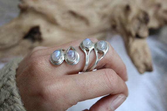 4 Stone Moonstone Ring - ADJUSTABLE - 925 Sterling Silver Ring - Statement Ring - Healing Crystal - Crystal Jewellery - Gift - Valentines