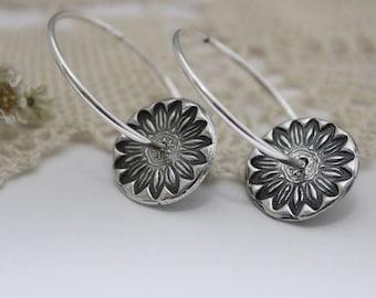 Sterling Silver Daisy Spinner Earrings