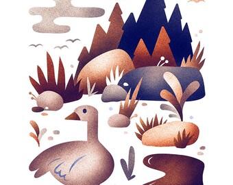 Goose habitat print - 8x10 modern goose print