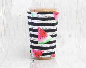 Watermelon Iced Coffee Cozy, Cup Cozy, Iced Coffee Cozy, Cup Sleeve, Coffee Cozy, Coffee Cuff