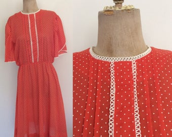 1980's Coral Pink Polka Dot Cotton Dress Size Medium by Maeberry Vintage