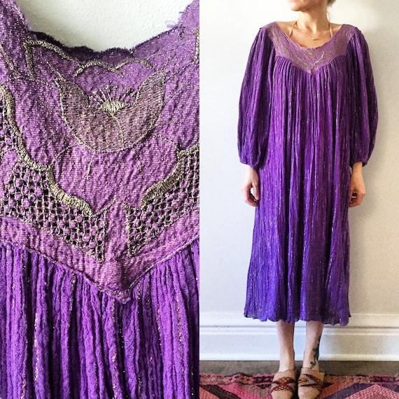 Vintage 70s  India Cotton Gauze Dress , Metallic Gauze Dress , Indian Cotton Gauze Midid Dress