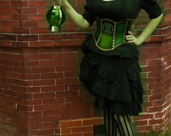 20 Inch Steampunk Green Lantern Hard Leather Corset