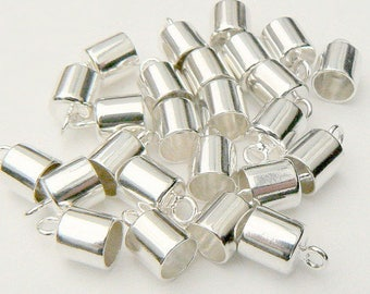 5/6/7/8mm STERLING Silver End/Pendant Caps (simple/solid/.925/small/vials/plain/smooth/shiny/lids/covers/tops/round/metal/with/loop/pure)