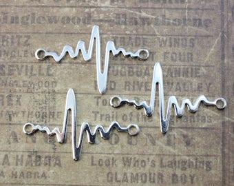 10 Heartbeat Connectors Sound Wave Connectors Antiqued Silver Tone  25 x 35 mm