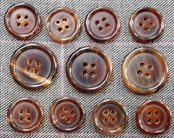 Genuine Brown Horn Buttons Set for suit jacket, blazer, or sport coat. Very high quality!